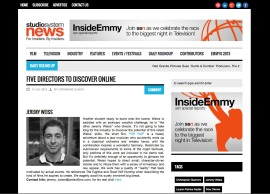 Screenshot from Studio System News webpage, written by Catherine Clinch