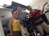 Having fun on set behind the camera
