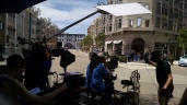 Filming a feature film on the back lot