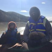 My morning commute to set. Trying to stay warm on the Yukon River.