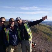 Crew photo at the top of Yukon with my soundman, Peter Jones and mini-cam operator Freya Davis.
