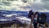 My camera looking over a frozen Yukon landscape.